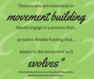Quote: donors who are interested in movement building should engage in a process that... evolves