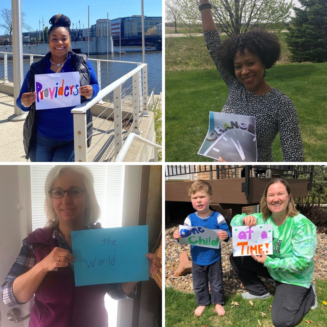 four photos attached to write 'providers change the world one child at a time'