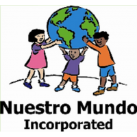 Nuestro Mundo Inc, drawn character children holding up the earth